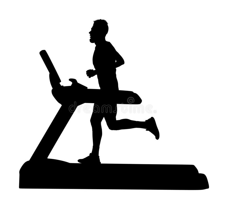 Sport man running on a treadmill in gym  silhouette. Boy on running track cardio training. Fitness instructor personal. Trainer workout. Exercise on simulator vector illustration