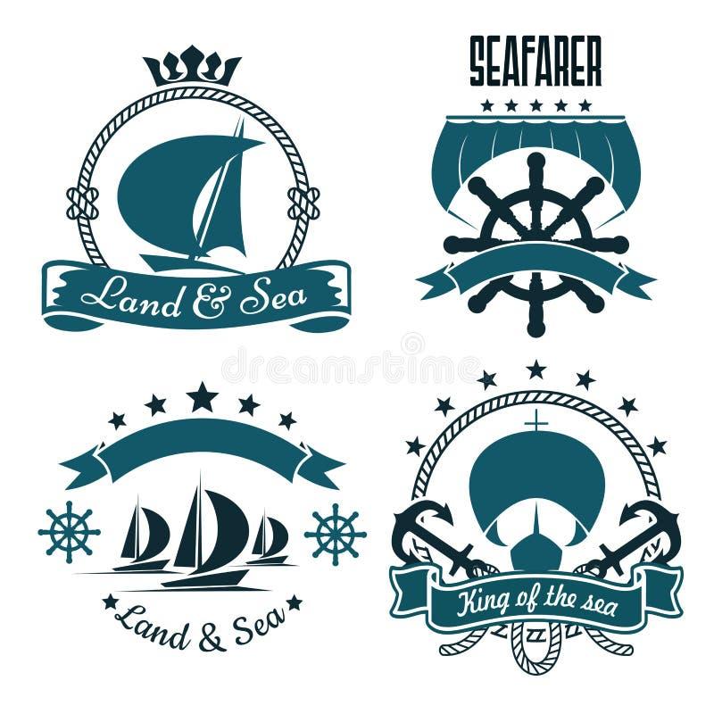 Sport marin, conception de club de yacht avec des bateaux de navigation illustration libre de droits