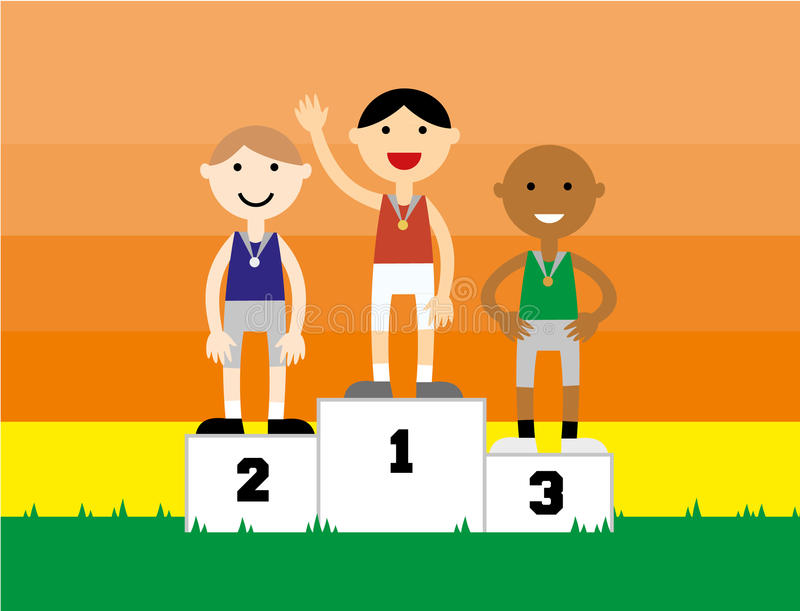 Sport medalist standing on a podium stock photography