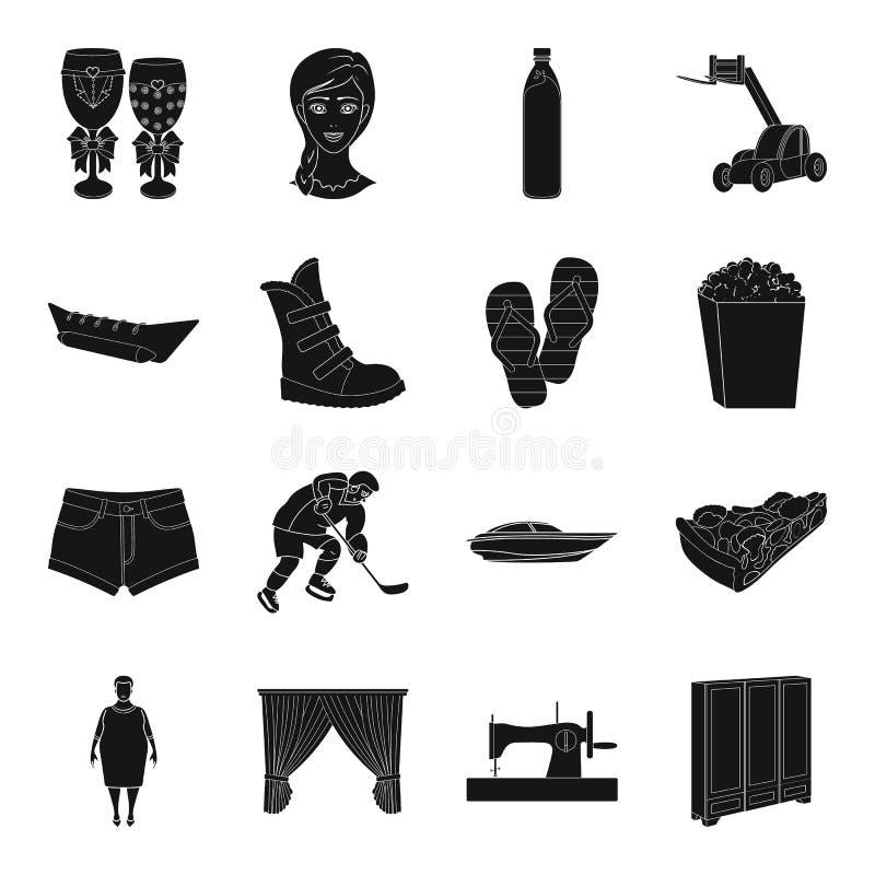 Sport, medicina, viaggio e l'altra icona di web nello stile nero illustrazione vettoriale