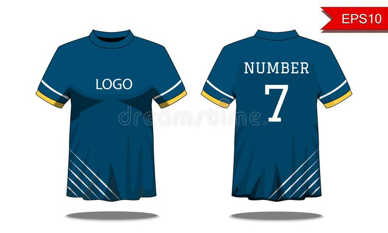 Sport Men`s t-shirt with short sleeve in front and back view. Bl vector illustration