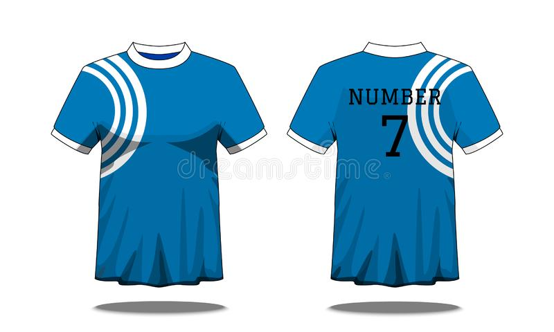 Sport Men`s t-shirt with short sleeve in front and back view. Blue with white stripe and Editable color design. Mock up of sport stock illustration
