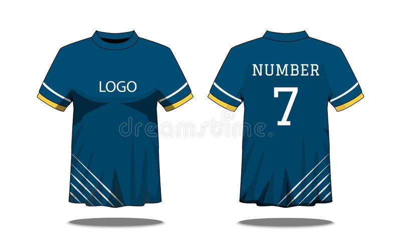 Sport Men`s t-shirt with short sleeve in front and back view. Blue with yellow white stripe and Editable color design. Mock up of stock illustration
