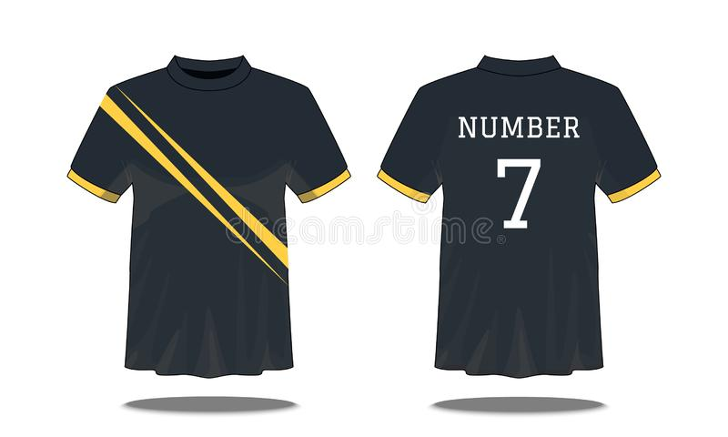 Sport Men`s t-shirt with short sleeve in front and back views. Black with yellow stripes and Editable color design. Mock up of stock illustration