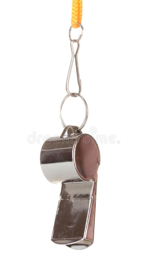 Sport metal whistle royalty free stock image