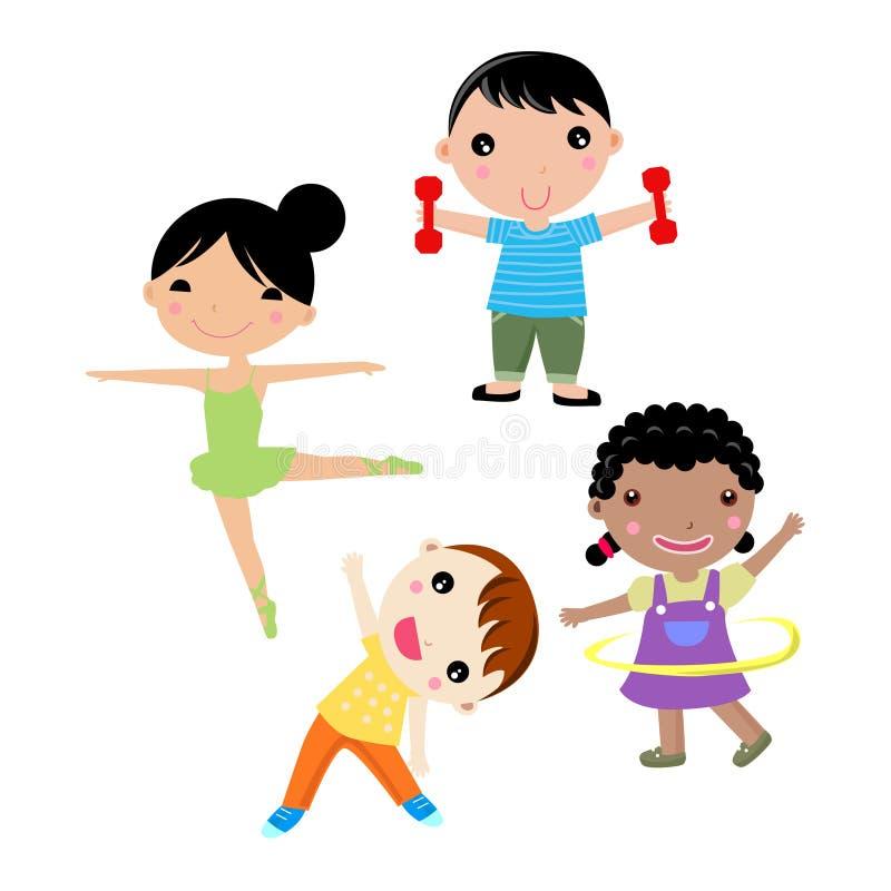 sport mit vier kindern vektor abbildung illustration von gesund 15196275. Black Bedroom Furniture Sets. Home Design Ideas