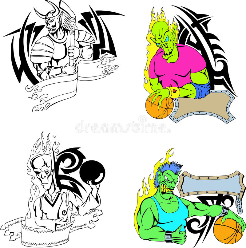 Sport Monster Template Stock Vector Illustration Of Tattoo