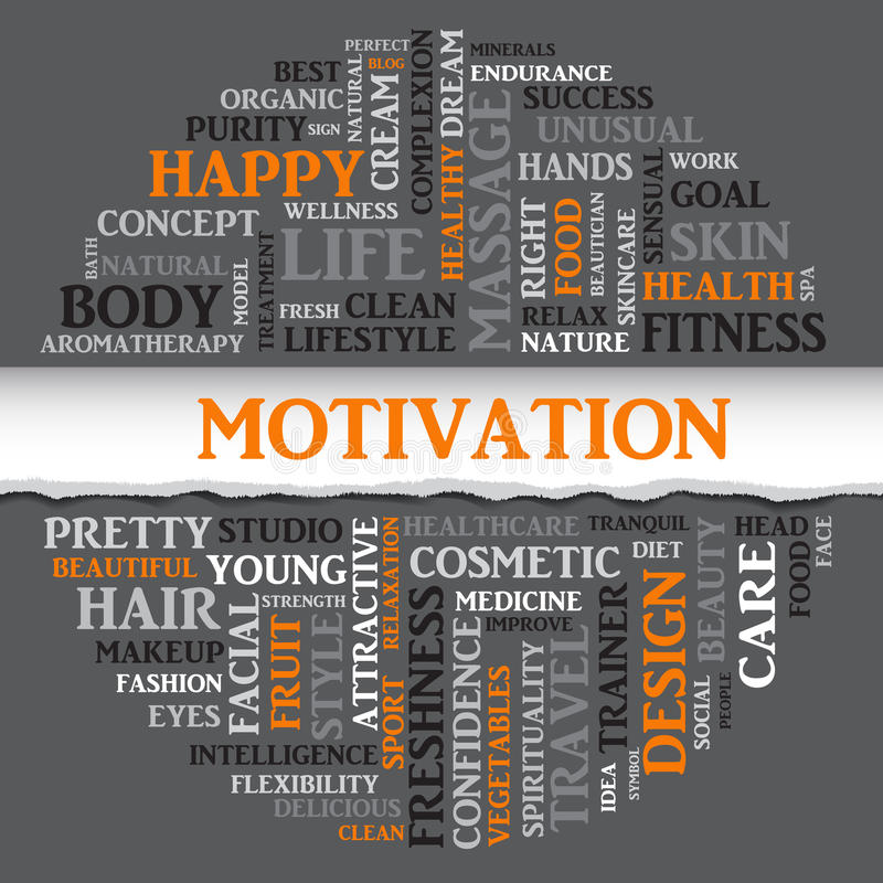 SPORT motivation concept related words in tag round cloud. With different association sport and fitness terms. The effect of torn paper. Vector royalty free illustration