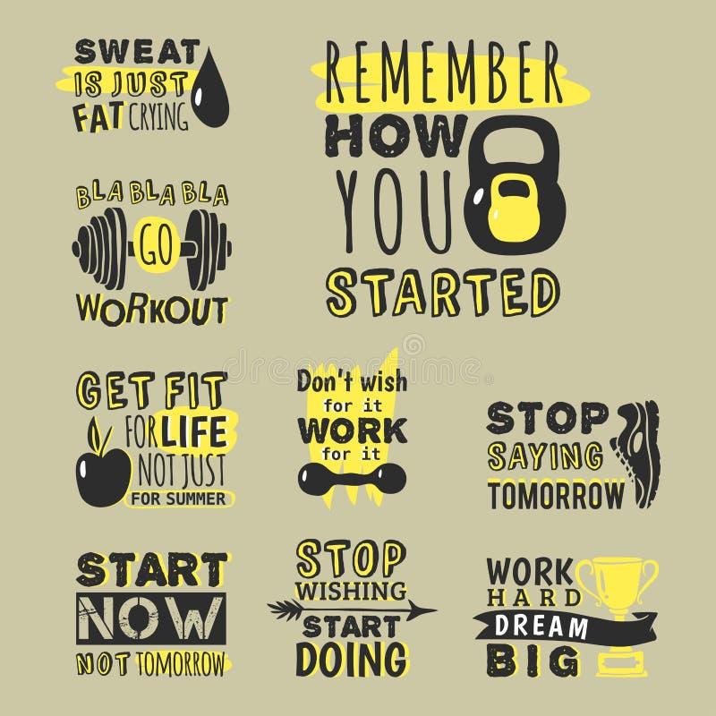 Sport motivational logo vector design hand drawn element banner gym crossfit trainings motivation text lettering vector illustration