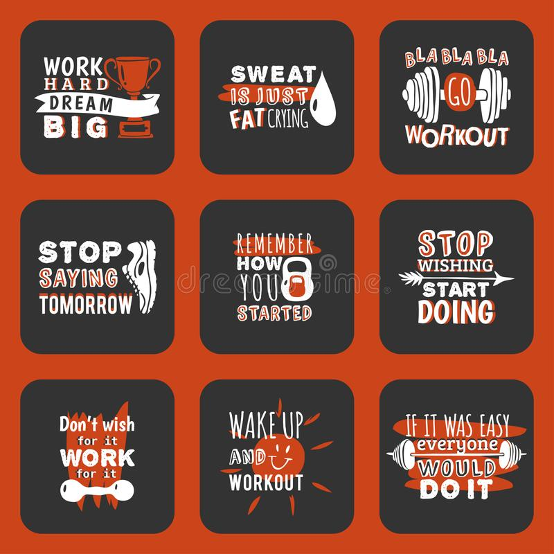 Sport motivational logo vector design hand drawn element banner gym crossfit trainings motivation text lettering stock illustration