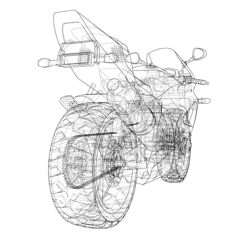 Sport Motorbike technical wire-frame. Vector rendering of 3d vector illustration