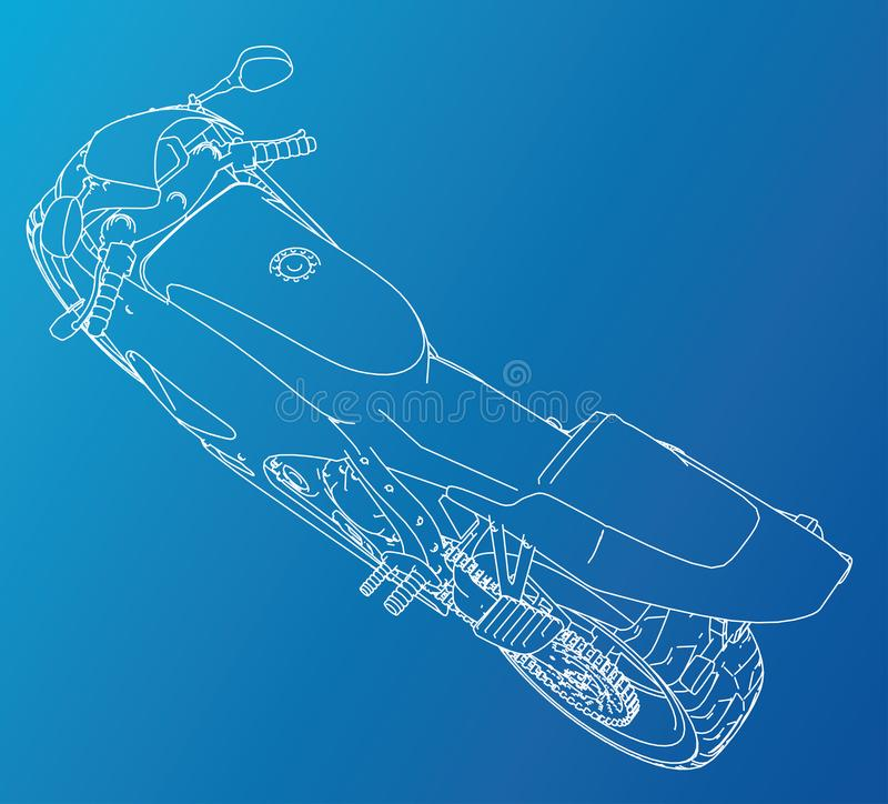 Sport Motorbike technical wire-frame. Vector rendering of 3d royalty free illustration