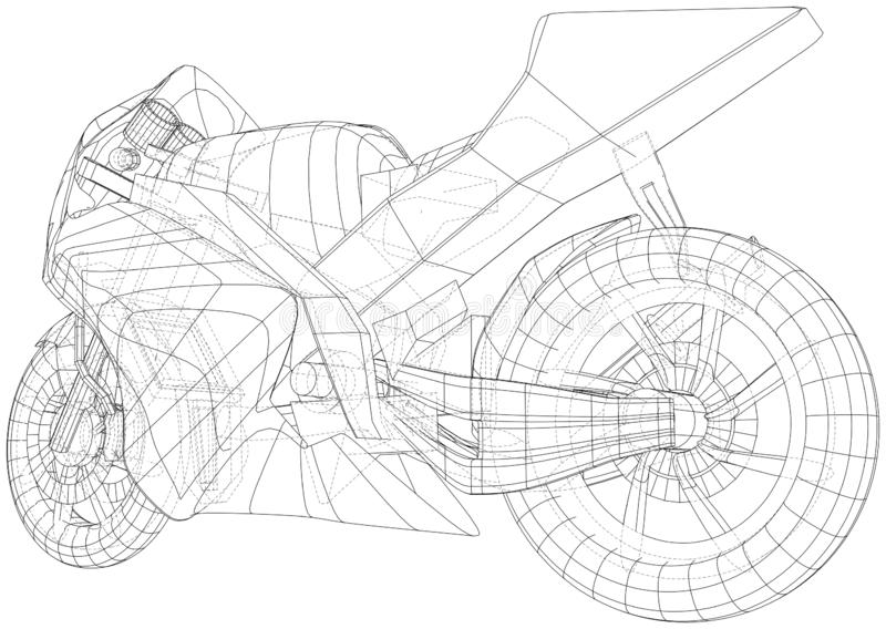 Sport motorcycle technical wire-frame. EPS10 format. Vector created of 3d royalty free illustration