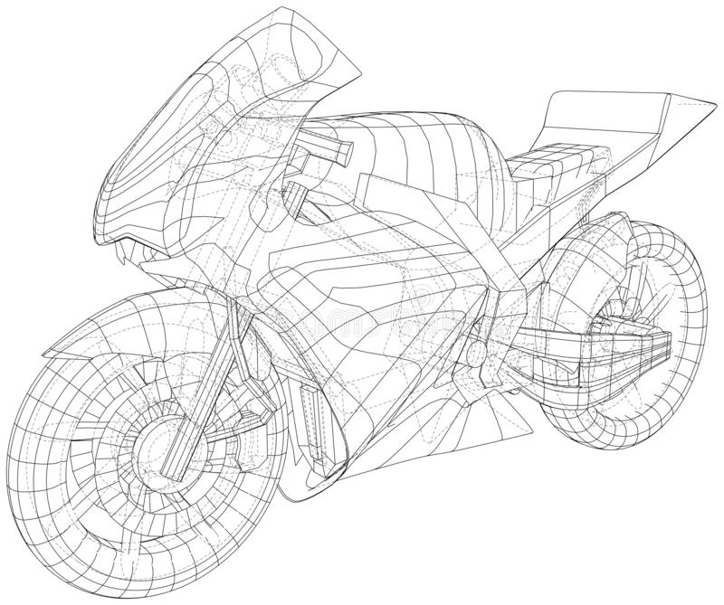Sport motorcycle technical wire-frame. Vector illustration. Tracing illustration of 3d royalty free illustration