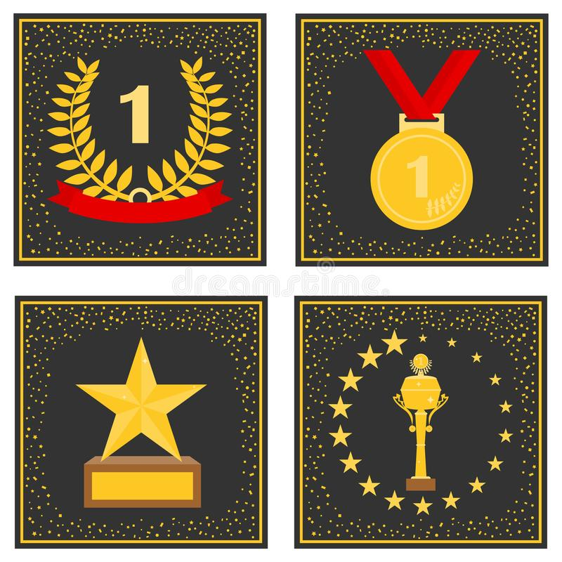 Sport nagrody na czarnym tle Złoci sportów trofea ilustracji