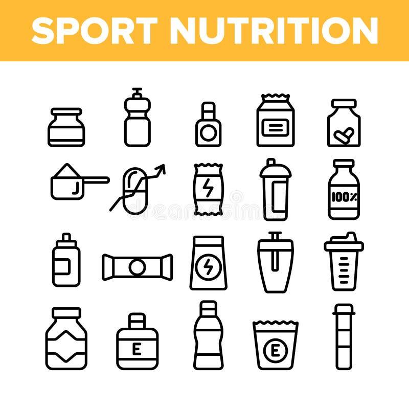Sport-Nahrungs-Vektor-dünne Linie Ikonen-Satz lizenzfreie abbildung