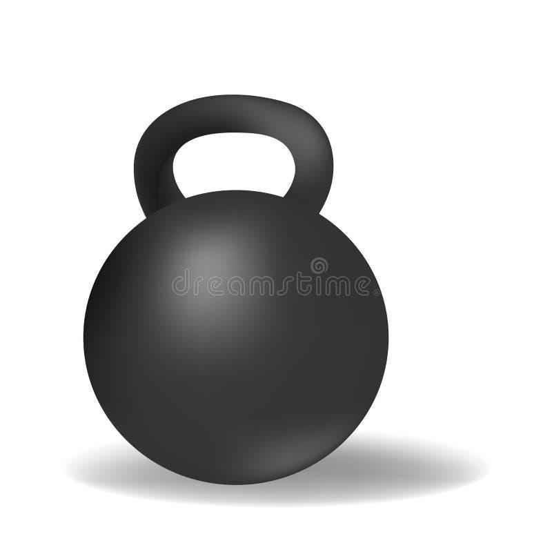 Sport noir réaliste de gymnase de poids de kettlebell d'isolement sur le fond blanc illustration stock