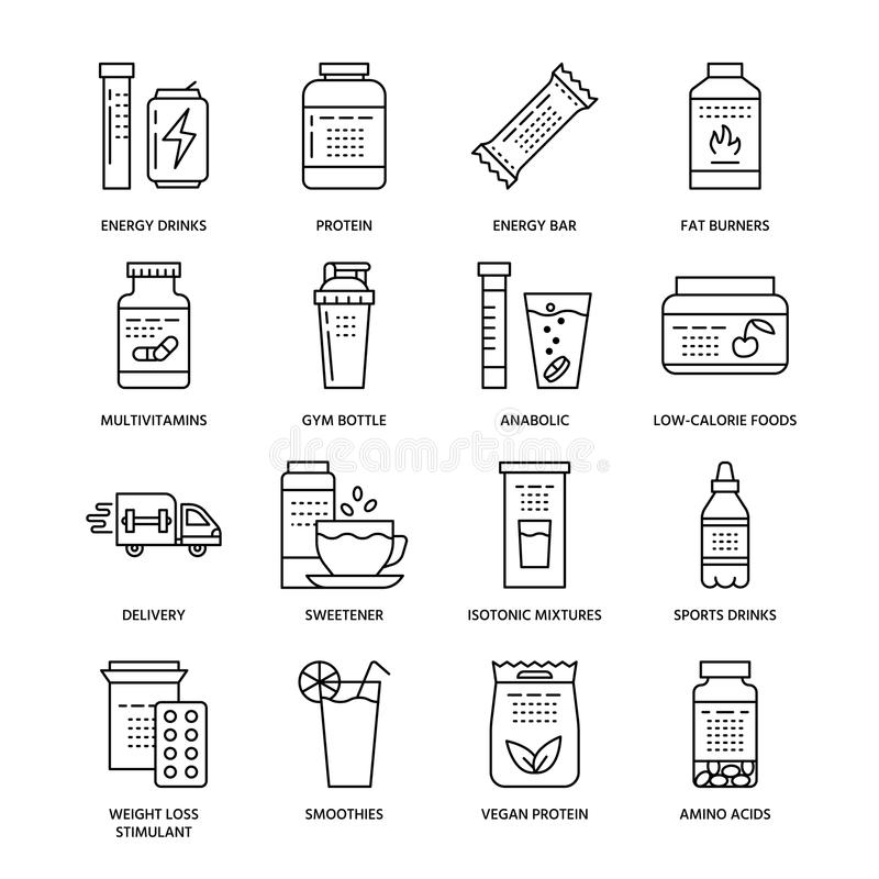 Sport nutrition flat line icons. Bodybuilding food, energy bar, protein, amino acids, anabolic, vitamins. Thin linear. Signs for gym fitness shop stock illustration