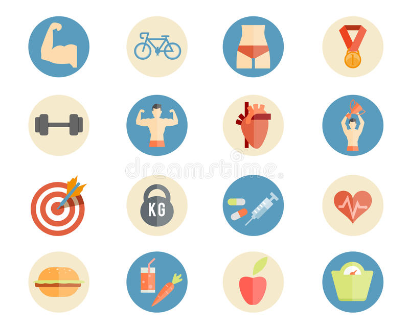 Sport and nutrition icons. Vector sport, health and nutrition icons in flat style stock illustration