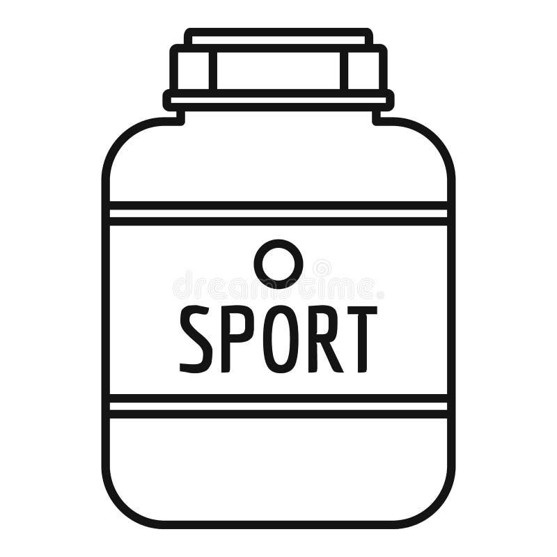 Sport nutrition plastic jar icon, outline style vector illustration
