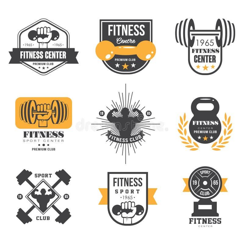 Sport och kondition Logo Templates, idrottshalllogotyper vektor illustrationer