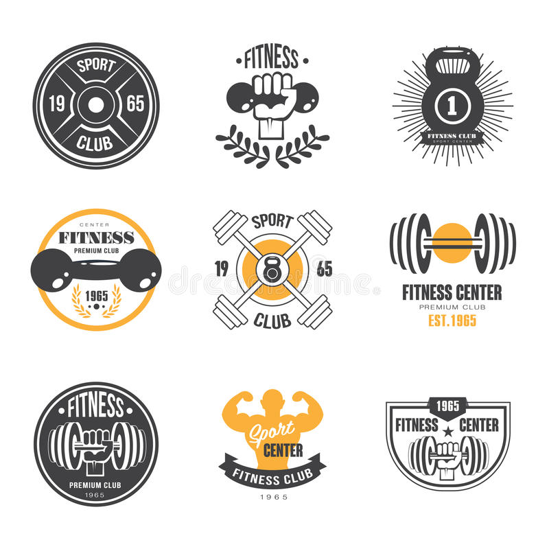 Sport och kondition Logo Templates, idrottshalllogotyper stock illustrationer