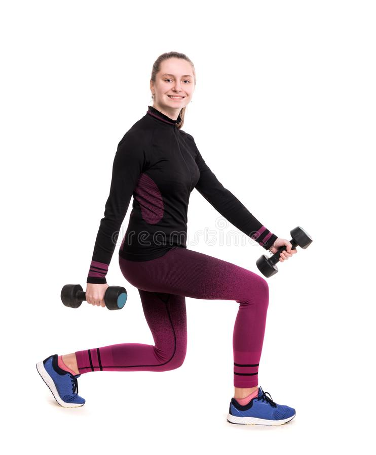 Sport- och sjukvårdbegrepp Le den tonåriga flickan i sportswear som utarbetar med hantlar i studio royaltyfri bild