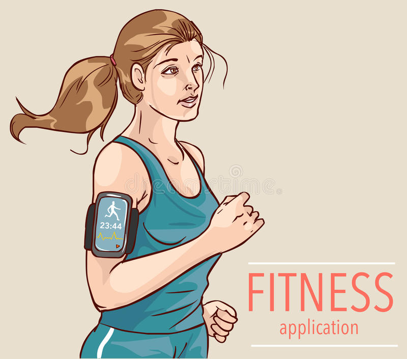 Sport oder Spurhaltungsapp der Eignung für laufende Leute vektor abbildung