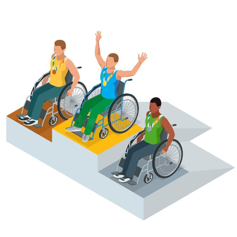 Sport olimpici isometrici per la gente con attività disabile Atleti paralimpici di vettore illustrazione vettoriale