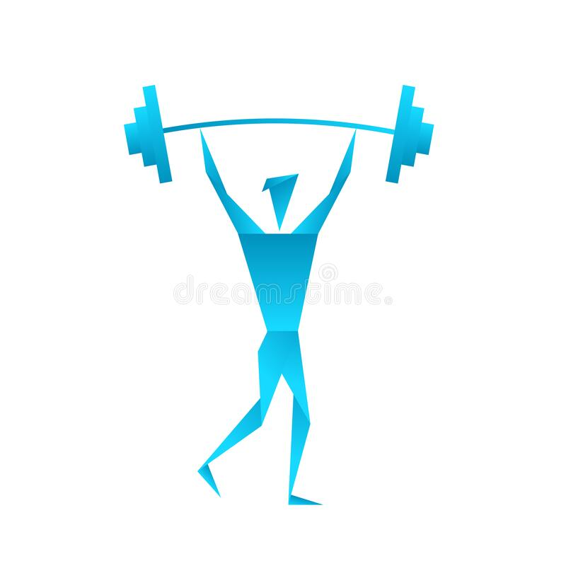 Sport origami logo. Athlete lifts the barbell in gym. Blue gradient. Sports nutrition. Flat vector. stock image