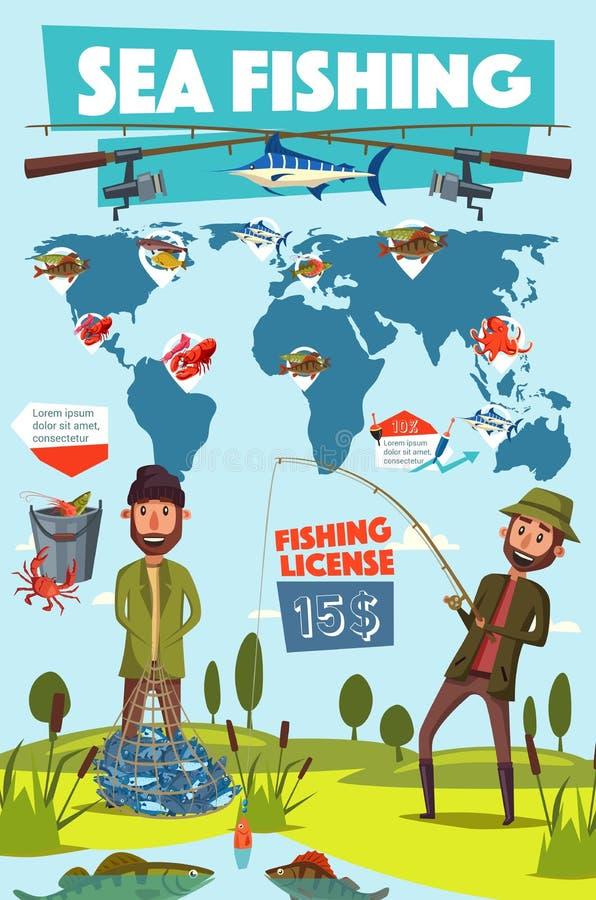 Sport, pêcheur et poissons de pêche dans le filet illustration libre de droits