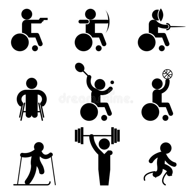 Sport paralympic gier ikony royalty ilustracja