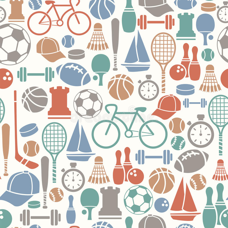 Sport pattern. Seamless pattern with sport icons