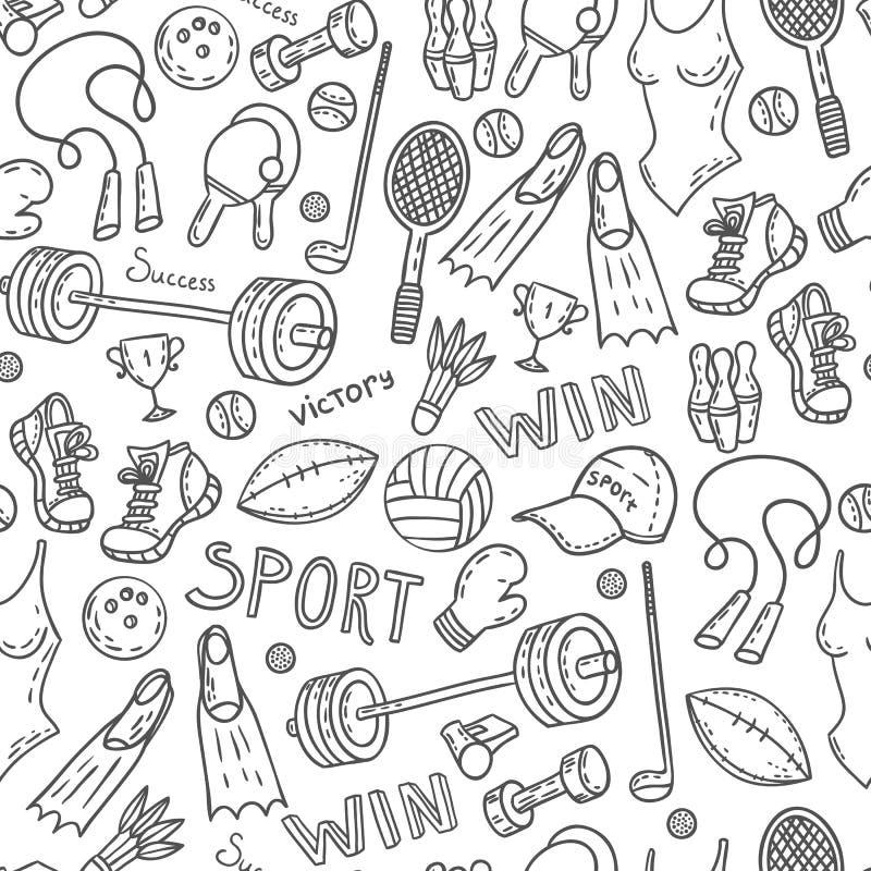 Download Sport pattern stock vector. Illustration of barbell, fins - 59439631
