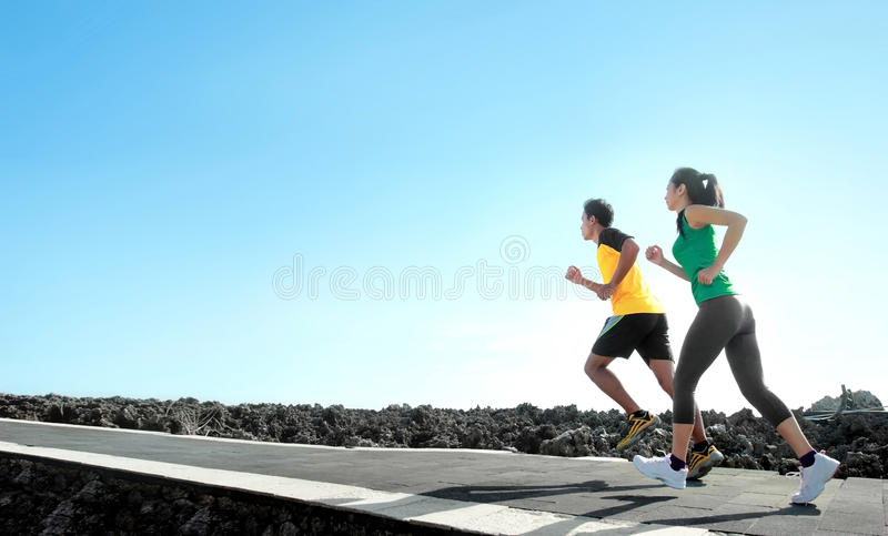 Sport people running outdoor royalty free stock photography