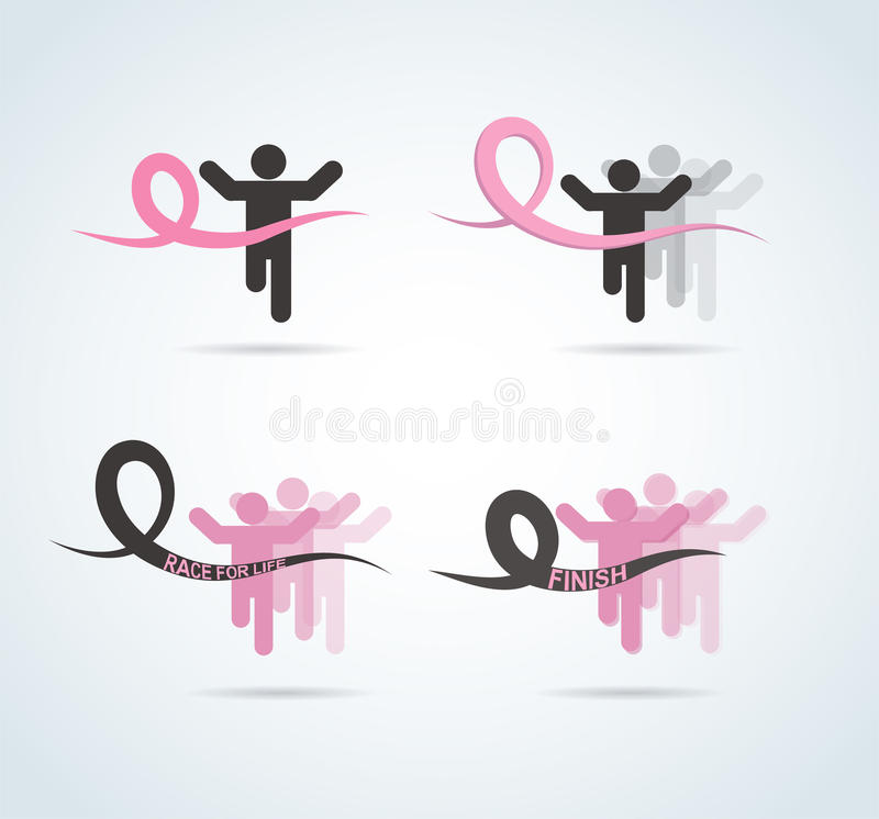 Sport people with Running Pink Ribbon, Breast Cancer Awareness at the fish line vector illustration