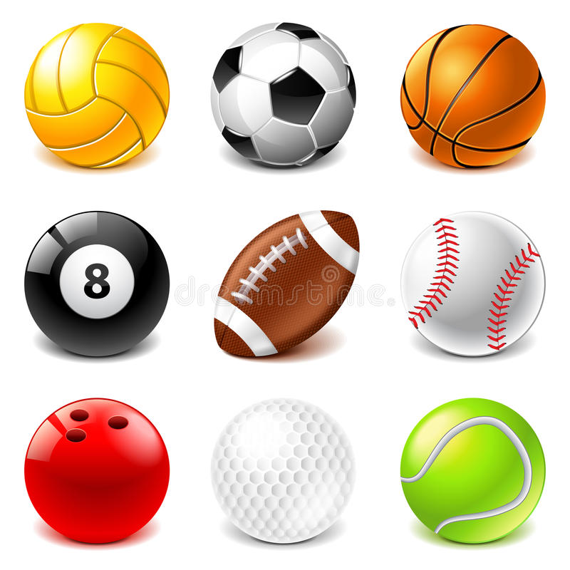 Sport piłek ikon wektoru set royalty ilustracja