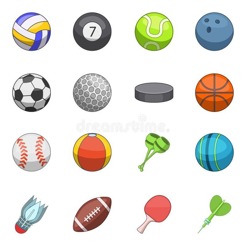 Sport piłek ikony ustawiać, kreskówka styl royalty ilustracja
