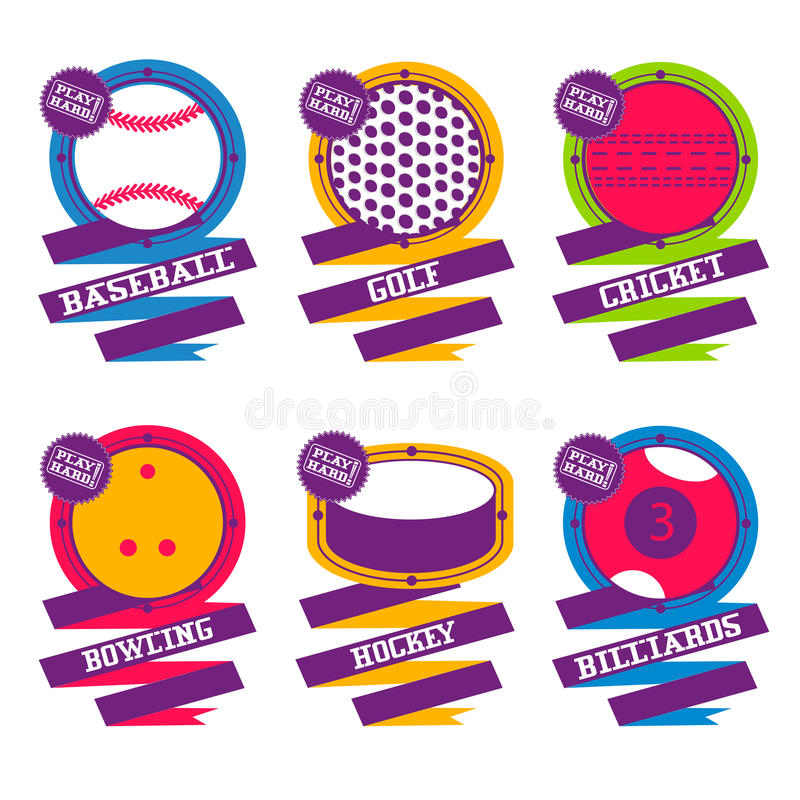 Sport piłek logo Golf, hokej, bilardowy, baseball, kręgle, krykiet royalty ilustracja