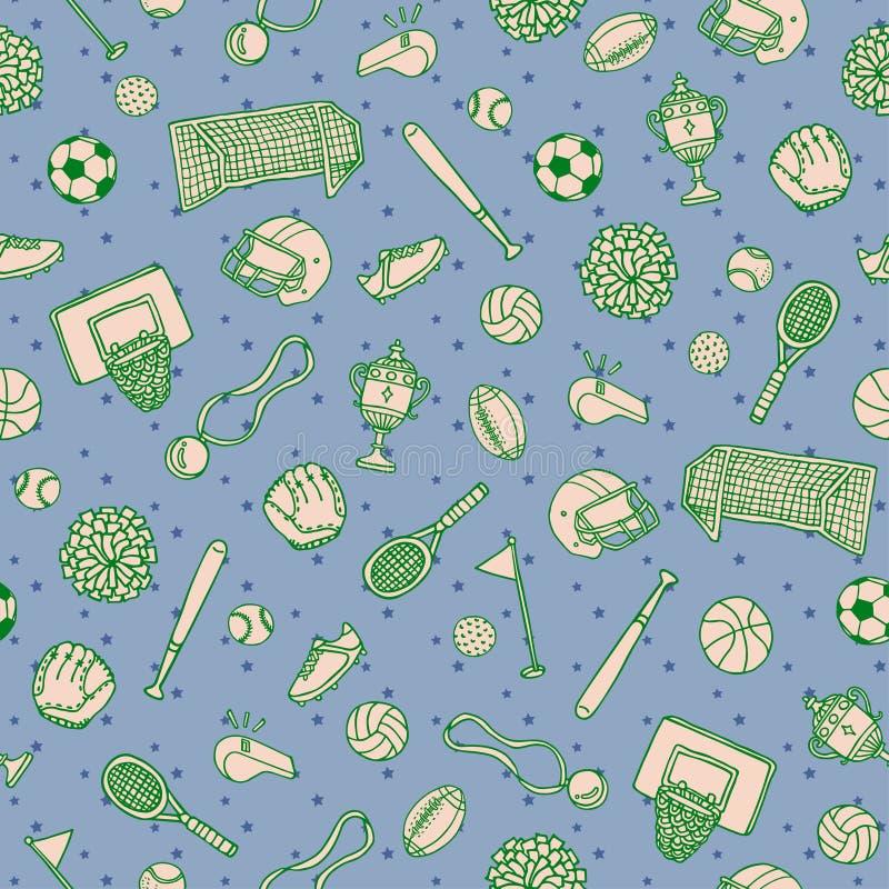 Sport piłek rzeczy Doodle powierzchni wzór Wektorowy tło zdjęcie royalty free
