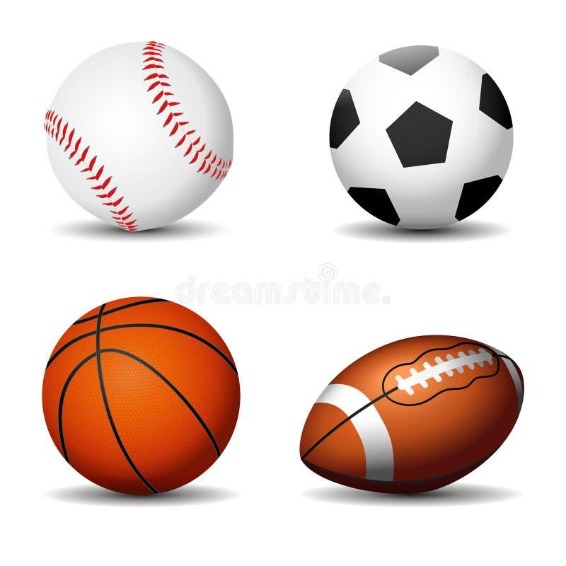Sport piłek sylwetki odizolowywać Futbol, koszykówka, rugby, baseball ilustracji