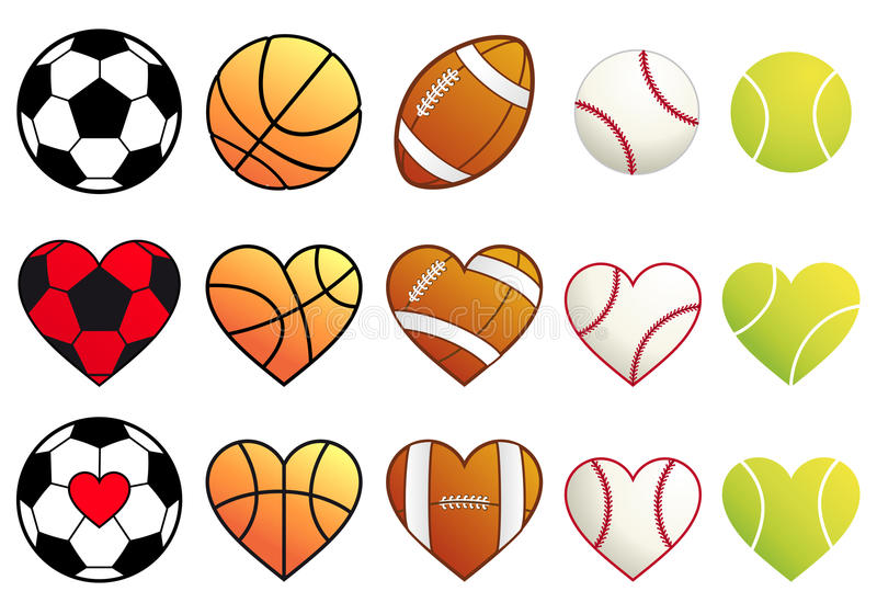 Sport piłki i serca, wektoru set ilustracja wektor