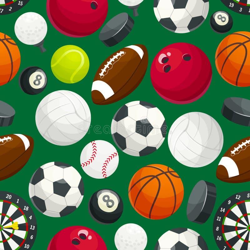 Sport piłki i wyposażenie bezszwowy wzór ilustracja wektor