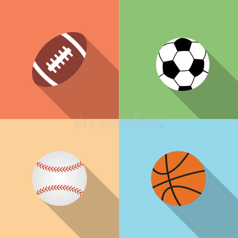 Sport piłki ustawiać, wektorowy mieszkanie styl zdjęcie stock
