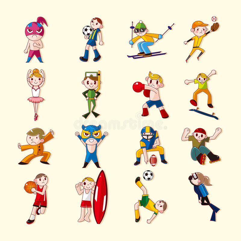 Download Sport player icons set stock vector. Illustration of dance - 30008072