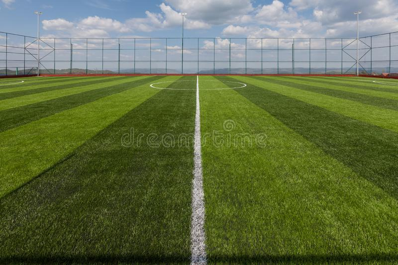 Sport playground for football and basketball, rubber stadium for training. And gaming stock photography
