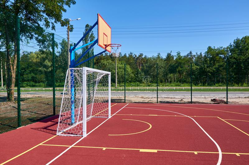 Sport playground for football and basketball, rubber stadium for training.  stock photo