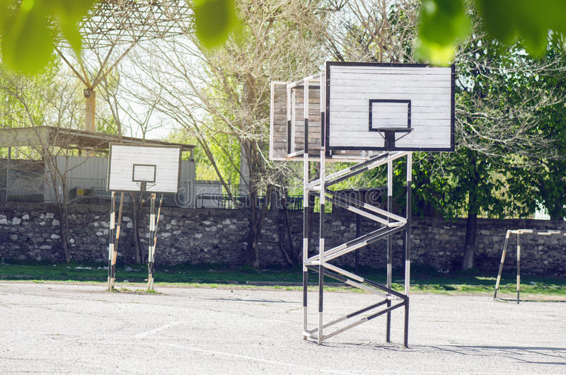 Sport Playground. School Playground With Basketball Hoops stock image