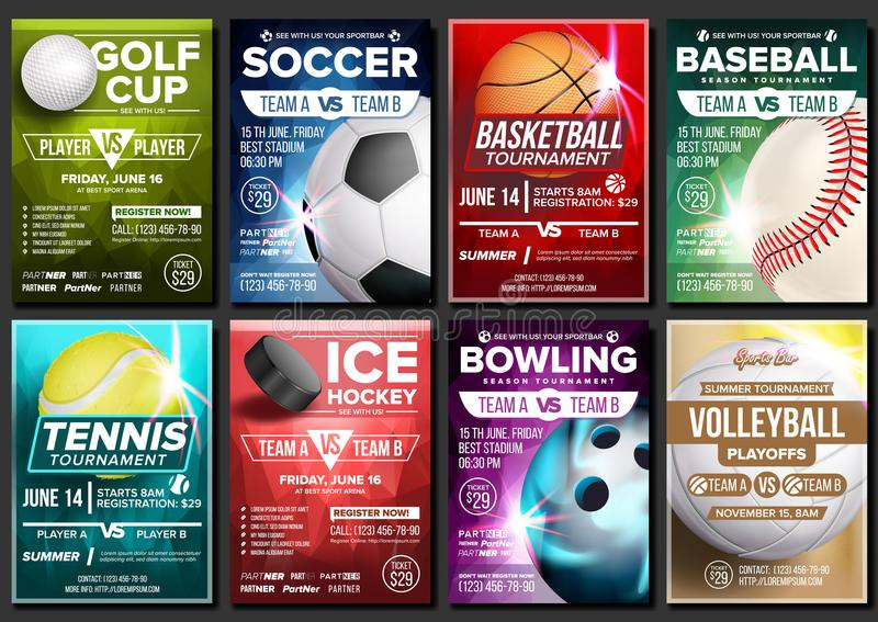Sport Poster Set Vector. Tennis, Basketball, Soccer, Golf, Baseball, Ice Hockey, Bowling. Event Announcement. Banner. Sport Poster Set Vector. Ice Hockey vector illustration