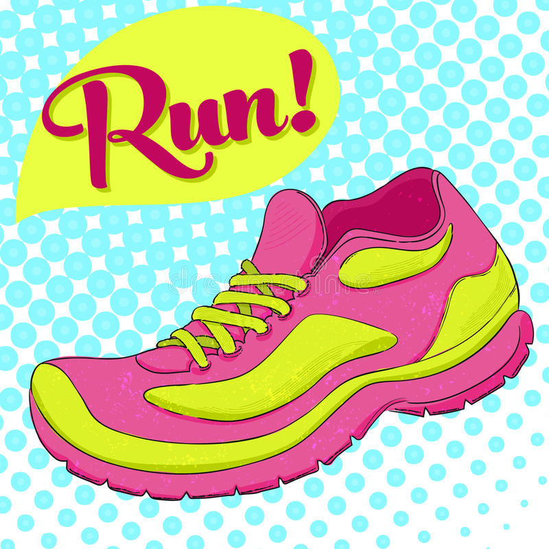 Sport poster with vector running shoe and text run. Halftone effect royalty free illustration
